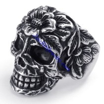 big flower skull ring JR350283