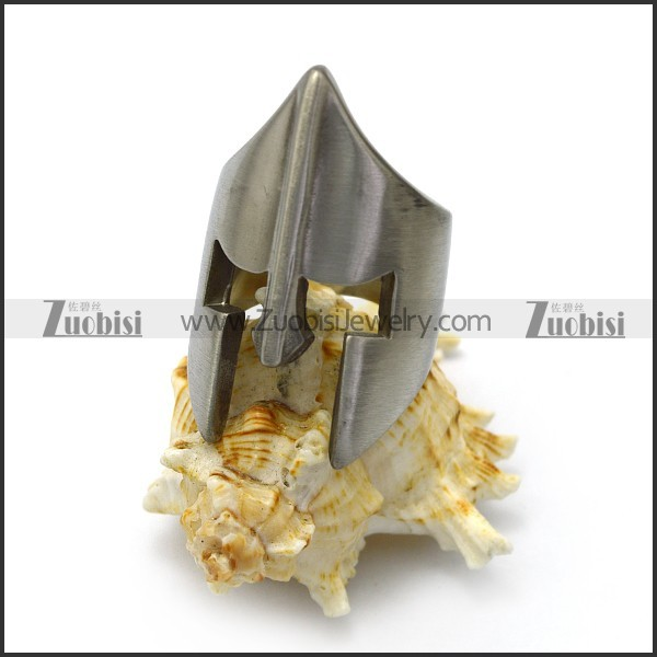 brushed stainless steel sparta warrior ring r005072