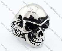 Stainless Steel skull Ring with 2 black eyes - JR090276