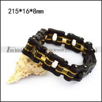 Motorcycle Chain Bracelet including One Inner Gold Layer and 3 Black Outer Layers b005363