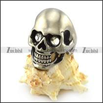 Dull Stainless Steel Skull Ring with 2 Clear Rhinestones Eyes r004287