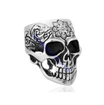 flower tattoo skull ring JR350182