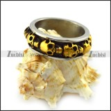 Band Ring with Gold Plating Skulls r004534