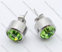 Clear Green Color Zircon Stainless Steel earring - JE050005