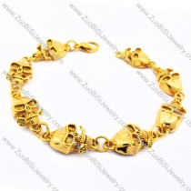 8 Gold Plating Stainless Steel Skull with Rose Bracelet JB170100
