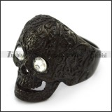 Black Plating Flower Skull Ring with 2 Clear Rhinestones Eyes r004310