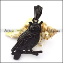 Black Plated Night Owl Pendant p004937
