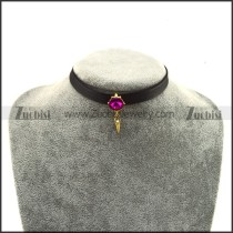 Rhinestone Gold Plating Alloy Pendant Choker Necklace jn920037