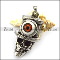 Brown Evil Eye Stainless Steel Cowboy Skull Pendant p005277