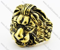 Gold Stainless Steel Lion Ring -JR010223