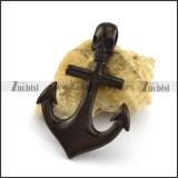 Black Skull Anchor Pendant p003022