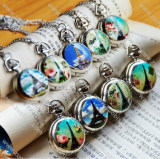 Silver Plated Pocket Watch Chain with Scenery Cover -PW000198