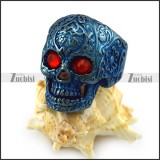 Dark Red Rhinestone Eyes Flower Skull Ring in Blue Finishing r004313