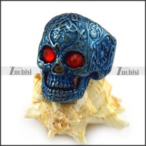 Dark Red Rhinestone Eyes Flower Skull Ring in Blue Finishing r004313