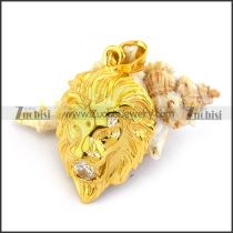 Shiny Gold Plating Lion Head Pendant p003349