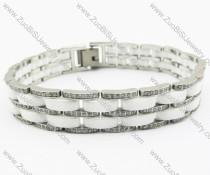 CNC clear rhinestones Stainless Steel bracelet - JB270070