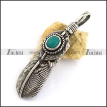 Retro Stainless Steel Feather Pendant with Turquoise Stone p002965