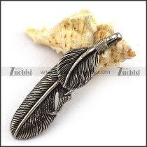 Mens Feather Pendant in Stainless Steel p003922
