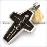Big Stainless Steel Cross Shaped Human Skeleton Pendant p003304