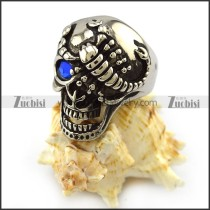 Blue Eye Scorpion Steel Skull Ring r004322