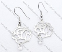 Rose and Zircon Stainless Steel earring - JE050121