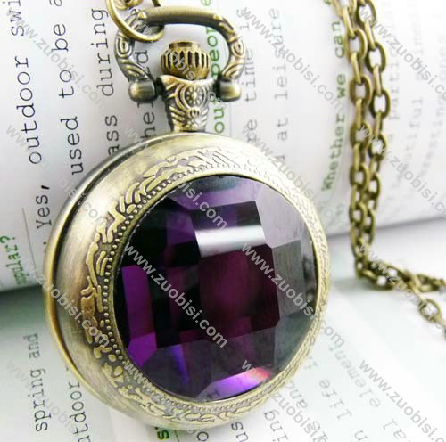 Dark Purple Faceted Plastic Watch Face Pocket Watch -PW000188