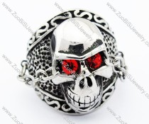 Stainless Steel Red Zircon Eye Skull Ring with a eye chain - JR300002