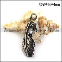 Retro Feather Charm w Crystal Rhinestone p003475