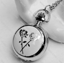 Silver White Rose Pocket Watch -PW000315