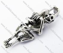 Make Love Skull Pendant in Stainless Steel -JP330093