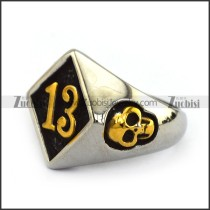 gold 13 and skull ring for bikers JR500002