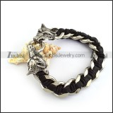 Black Leather Chain Bracelet with 2 Wolf Heads b005223