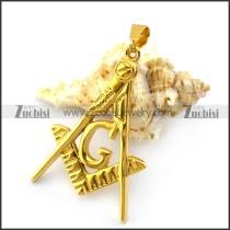 Golden Stainless Steel Masonic Pendant p004880