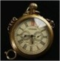 Antique Brass Mechanical Pocket Watch with chain -pw000402