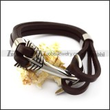 Stainless Steel Arrow Charm Brown Leather Bracelet b006141