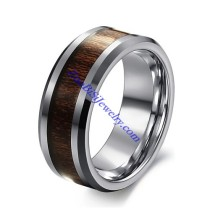 0.32 inch Steel Pure Tungsten Ring with Carbon Fiber in Middle JR490007