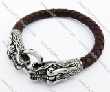 Stainless Steel China Dragon Brown Leather Bracelet - JB400010