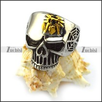 Cobweb Skull Ring with Golden Spider r004529