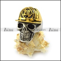 Stainless Steel Skull Ring wearing Gold Fireman Hat r003996