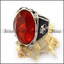 Jumbo Clear Red Faceted Stone Skull Ring r004252
