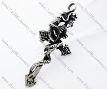 Stainless Steel Dragon Cross Pendant - JP370060