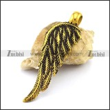 Retro Gold Stainless Steel Feather Pendant p003034