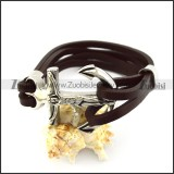 Jesus Anchor Brown Leather Bracelet b006139