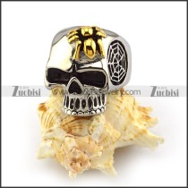 Gold Spider Steel Skull Ring r003963