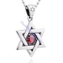 red rhinestone hexagram pendant JP350069