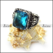 Jumbo Clear Blue Stone Crown Ring r004412