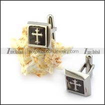 Cross Epoxy Stainless Steel Cufflink c000149