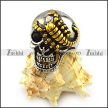 Silver Stainless Steel Skull Ring with Golden Scorpion r004315