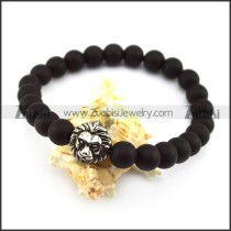 24 Black Beads with 8mm Diameter and 1 SS Metal Leo Bead b005944