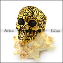 Vintage Gold Stainless Steel Flower Skull Ring with Black Eyes r004299